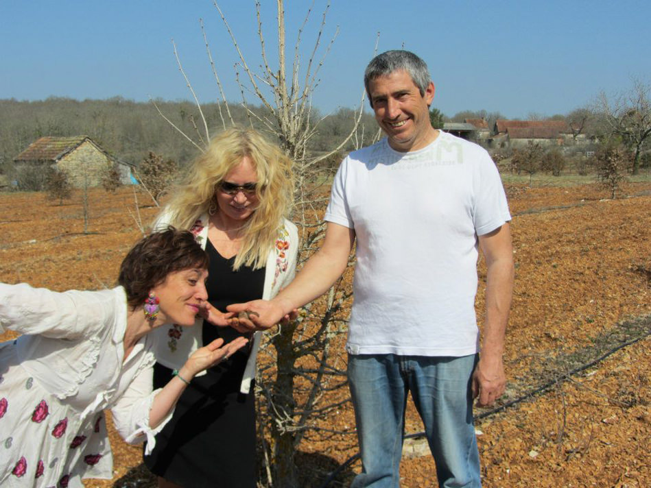 Susan-France in Orchard with owners