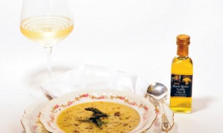 Asparagus soup with Crème Fraiche and black truffle oil